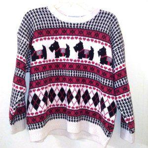 Vintage Scottie Dog Houndstooth Argyle Sweater XL